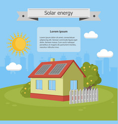 solar energy panels house ecology vector image