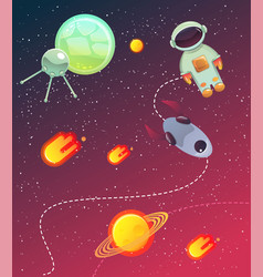 space banner with planets stars vector image