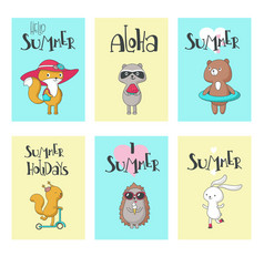 summer animal cards hand drawn vector image