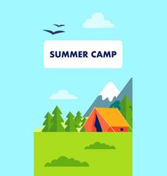 Summer camp flyer brochure vector