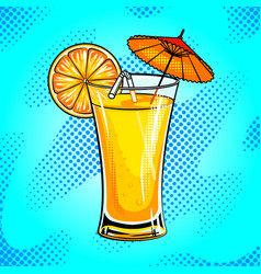 Summer cocktail pop art vector
