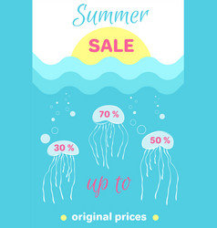 Summer sale poster abstract cartoon jellyfishes vector