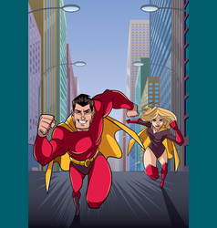 Superhero couple running hero leads vector