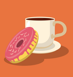 Sweet donut and cup beverage hot food vector