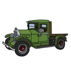 the vintage green lorry vector image