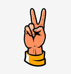 Victory or peace symbol hand gesture vector