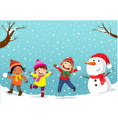 Winter fun happy children playing in the snow vector