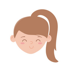 young girl face character isolated icon on white vector image