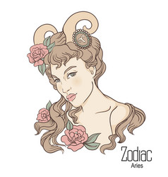 Zodiac of aries as girl with vector