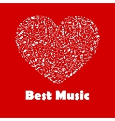 Best Music poster with heart shape musical notes vector image vector image
