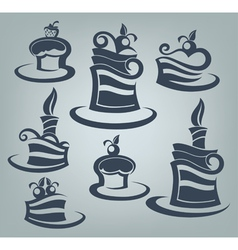 cakes and sweets collection of delicious symbols vector image