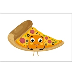 Funny pizza slice isolated cartoon character vector image vector image