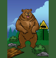grizzly bear standing in the nature vector image vector image