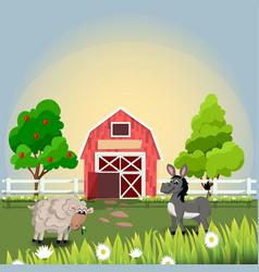 Happy and cheerful farm animals vector