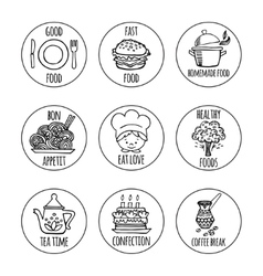 Kitchen tools icons background isolation vector image vector image