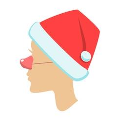silhouette of female head santa hat vector image vector image