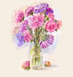 watercolor bouquet of lilac aster vector image