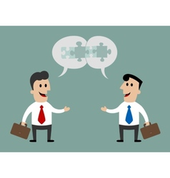 Businessmen meeting and talking about cooperation vector image