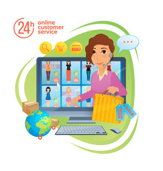 electronic commerce with online shopping and vector image vector image