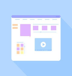 Flat site template on a blue background vector image