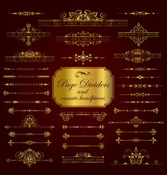 Golden page dividers and ornate headpieces vector