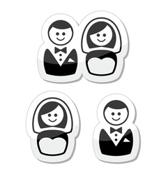 Married couple labels - groom and bride vector image