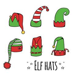 set of cartoon elf hats vector image vector image