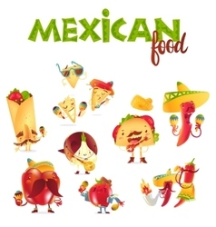 Set of happy Mexican food characters playing vector image vector image