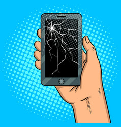 smart phone and broken screen pop art vector image vector image