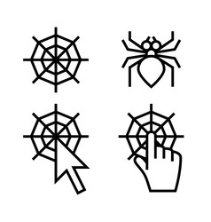 Spider web networking icons vector image