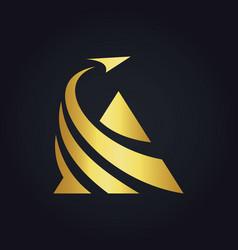 triangle business finance arrow gold logo vector image