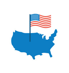 usa map and flag america banner and land area vector image