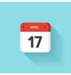 April 17 Isometric Calendar Icon With Shadow vector image