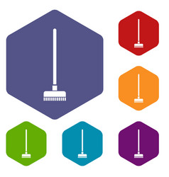 brush for a floor icons set vector image vector image