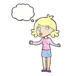 Cartoon confused woman with thought bubble vector