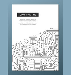 constructing - line design brochure poster vector image vector image