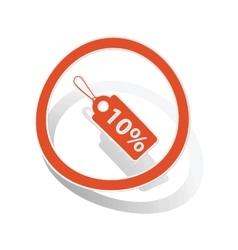 Discount sign sticker orange vector image