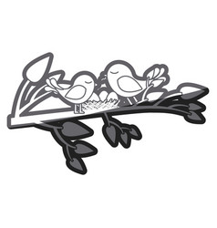 Grayscale thick silhouette of birds and nest in vector