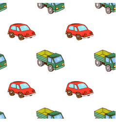 lorry and car toy pattern seamless vector image