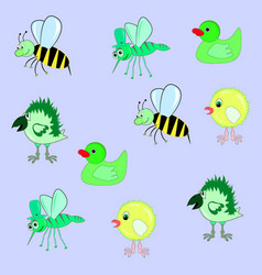 Pattern bee chicken crow mosquito duck vector