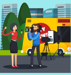 reporter orthogonal composition vector image vector image