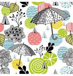 seamless pattern with spring time umbrellas vector image vector image