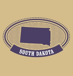 South Dakota map silhouette - oval stamp of state vector image