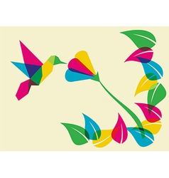 Spring time humming bird and flower vector image vector image