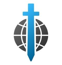 Sword globe gradient icon vector