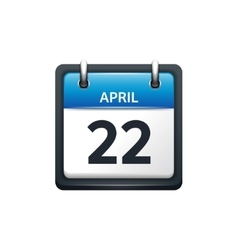 April 22 Calendar icon flat vector image vector image