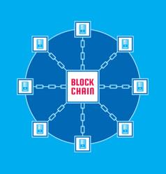 blockchain network computer technology vector image