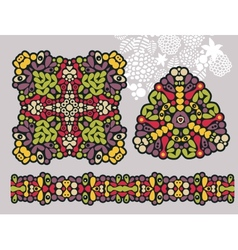 Decoration shapes and psychedelic ornament vector image