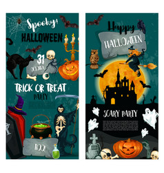 halloween night trick or treat party poster design vector image vector image