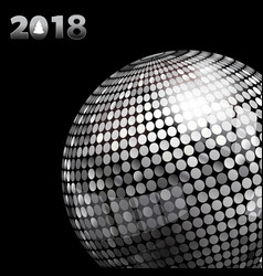 2018 background with silver disco ball and date vector
